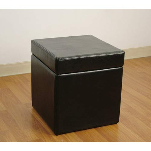 4D Concepts 554664 Faux Leather Box Ottoman with Lift Top in Black