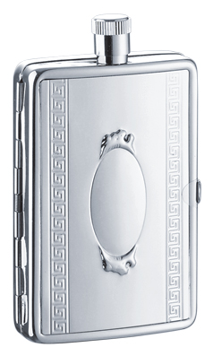 Simran 8401-12 Ajmer 2 oz. Stainless Steel Flask With Built In Case
