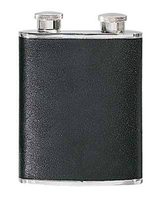 Simran DHF-01 Ajmer 6 oz. Bonded Leather Stainless Steel Flask With Dual Compartments