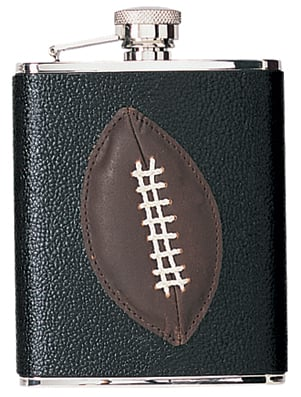 Simran HFFS6182 Ajmer 6 oz. Football Genuine Leather Stainless Steel Flask