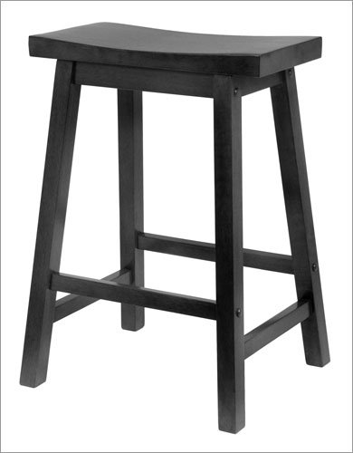Winsome 20084 Saddle Seat 24 Inch Stool - Black