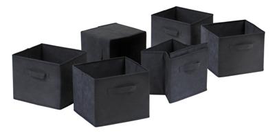 Winsome 22611 Capri Set of 6 Foldable Fabric Baskets - Black