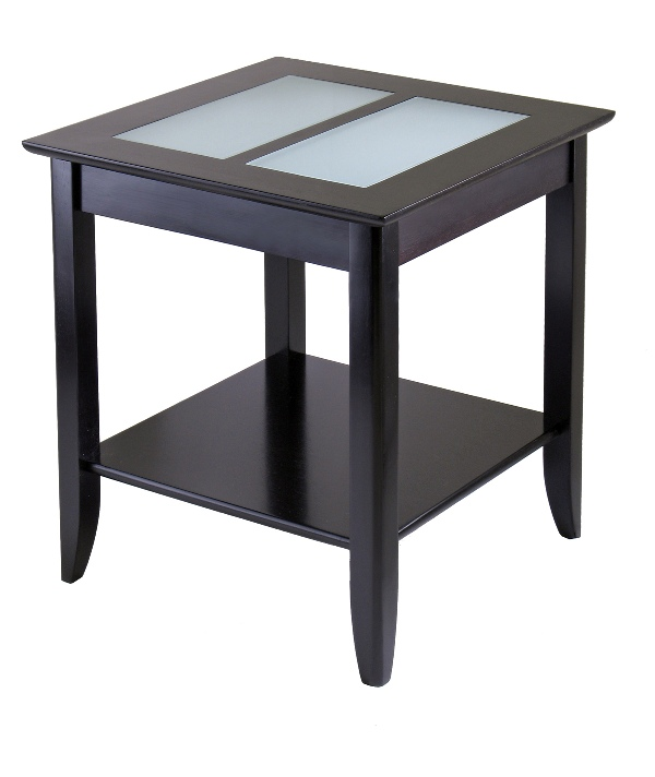 Winsome 92122 Syrah End Table with Frosted Glass - Espresso