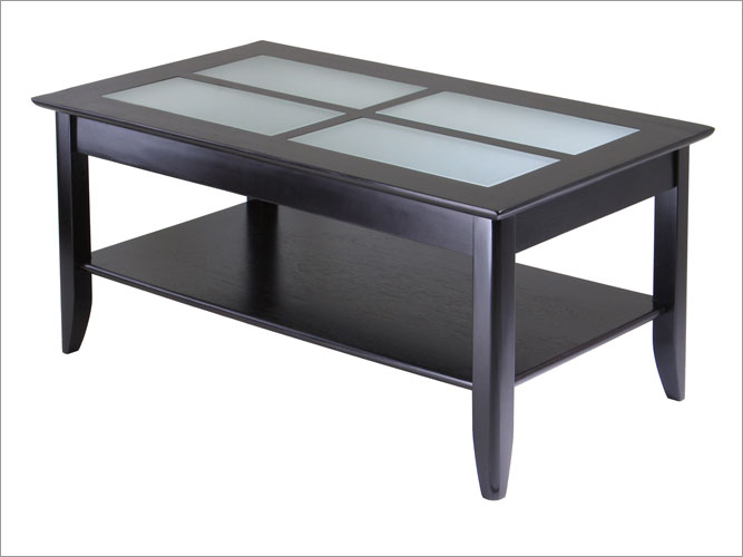 Winsome 92140 Syrah Coffee Table with Frosted Glass - Espresso