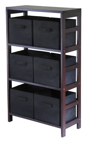 Winsome 92251 Capri 3 Section M Storage Shelf with 6 Foldable Black Fabric Baskets - Walnut and Black