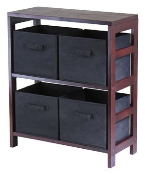 Winsome 92261 Capri 2 Section M Storage Shelf with 4 Foldable Black Fabric Baskets - Walnut and Black