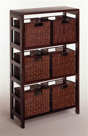 Winsome 92610 Leo 7 Piece Shelf and Baskets - One Shelf  6 Small Baskets - Espresso