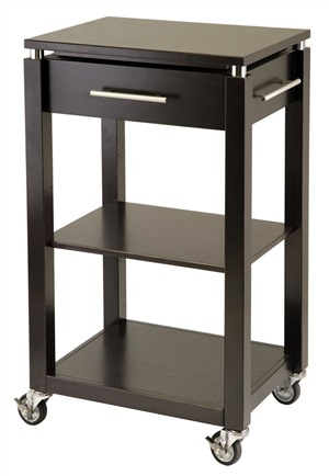 Winsome 92718 Linea Kitchen Cart with Chrome Accent - Espresso