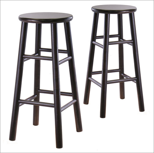 Winsome 92780 29 Inch Bevel Seat Stool - Set of 2 - Espresso