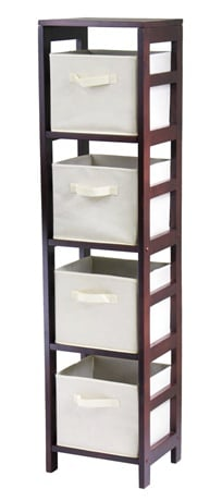 Winsome 92841 Capri 4 Section N Storage Shelf with 4 Foldable Fabric Baskets - Walnut and Beige
