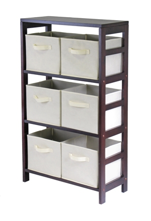 Winsome 92851 Capri 3 Section M Storage Shelf with 6 Foldable Fabric Baskets - Walnut and Beige