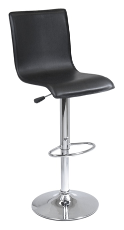 Winsome 93145 High Back L Shape Air Lift Stool - Black and Metal