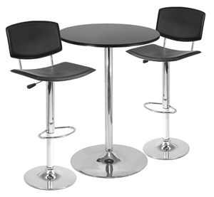 Winsome 93340 3 Piece Pub Table Set  28 Inch Round Table with 2 Airlift Stools - Black and Metal