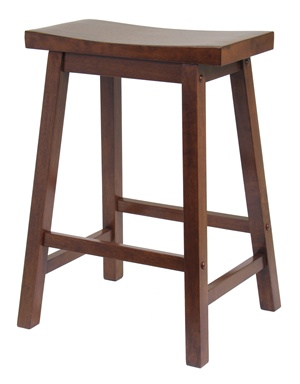 Winsome 94084 24 Inch Saddle Seat Stool - Walnut