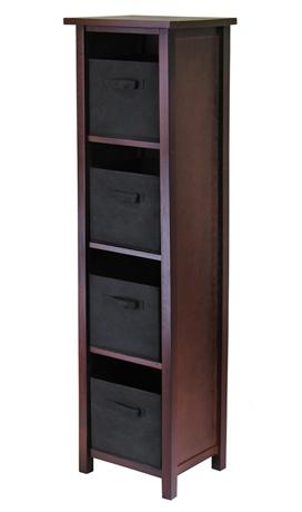 Winsome 94261 Verona 4 Section N Storage Shelf with 4 Foldable Fabric Baskets - Walnut and Black