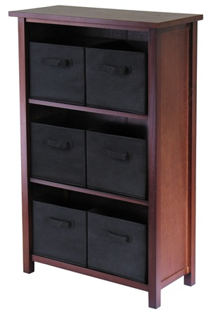 Winsome 94281 Verona 3 Section M Storage Shelf with 6 Foldable Fabric Baskets - Walnut and Black