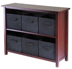 Winsome 94291 Verona 2 Section W Storage Shelf with 6 Foldable Baskets - Walnut and Black