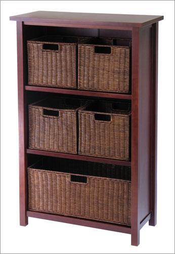 Winsome 94313 Milan 6 Piece Cabinet or Shelf and Baskets - Shelf  One Basket  4 Small Baskets - Antique Walnut