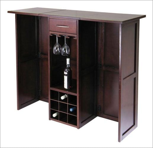 Winsome 94350 Newport Wine Bar Expandable Counter - Walnut