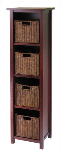 Winsome 94411 Milan 5 Piece Storage Shelf with Baskets - Cabinet and 4 Small Baskets - Antique Walnut