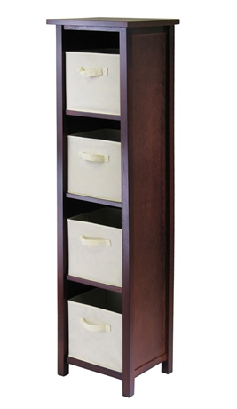 Winsome 94861 Verona 4 Section N Storage Shelf with 4 Foldable Fabric Baskets - Walnut and Beige