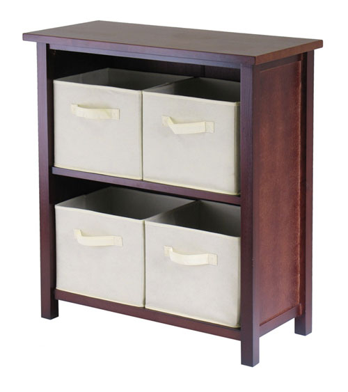Winsome 94871 Verona 2 Section M Storage Shelf with 4 Foldable Fabric Baskets - Walnut and Beige
