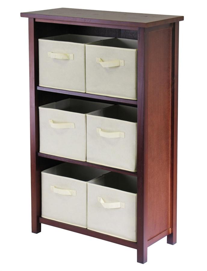 Winsome 94881 Verona 3 Section M Storage Shelf with 6 Foldable Fabric Baskets - Walnut and Beige