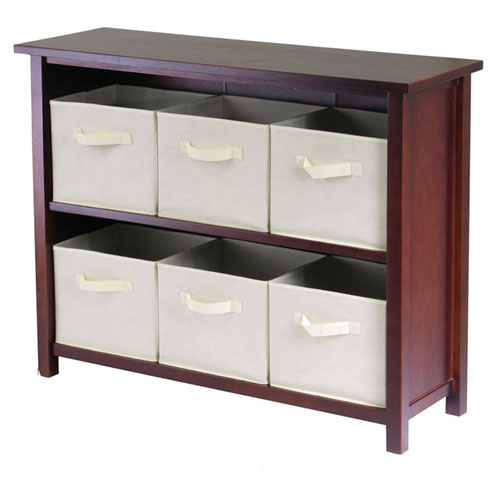 Winsome 94891 Verona 2 Section W Storage Shelf with 6 Foldable Fabric Baskets - Walnut and Beige