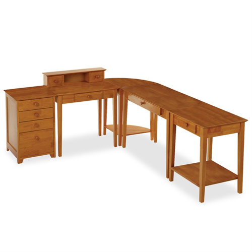 Winsome 99555 5 Piece Studio Home Office Set - Honey