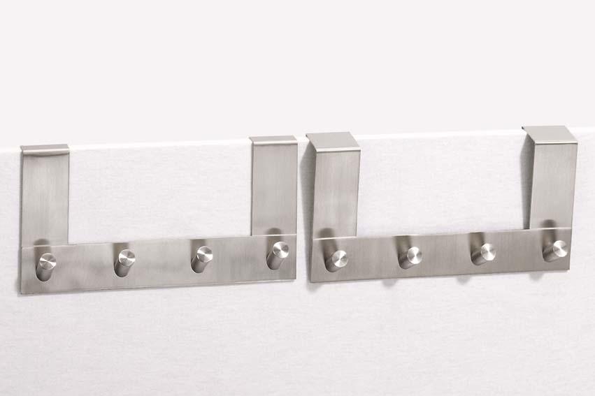 Zack 20754 EXIT door hook rack 4 hooks 1.62 inch Stainless Steel