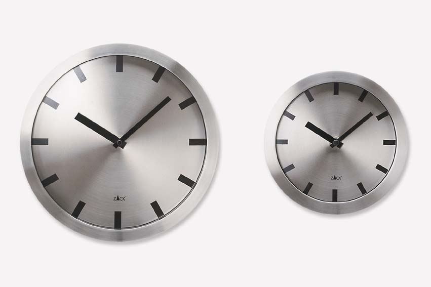 Zack 60031 APOLLO wall clock big 11.82 inch Stainless Steel