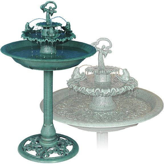 Alpine Fountain with Frogs and Angel - TEC100