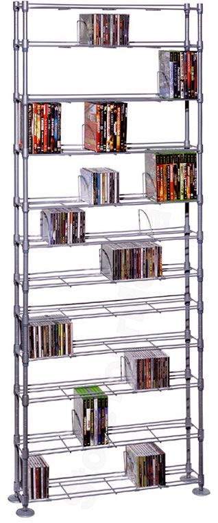 Atlantic 63135237 Max 12-Tier Adjustable Multimedia Storage Silver Steel Shelving