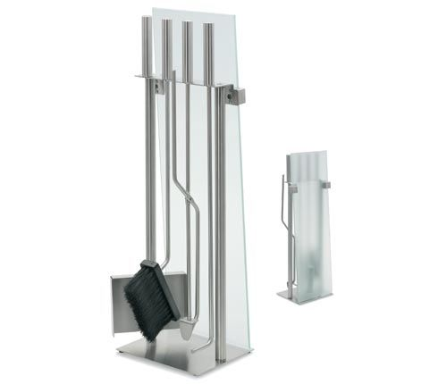 Blomus 65130 Glass Front Fireplace Set Stainless Steel - 5 Pieces