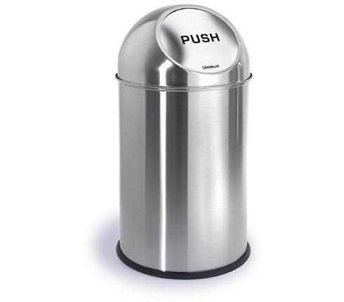 Blomus 68238 stainless steel matt 2.6 gallon pushman garbage can