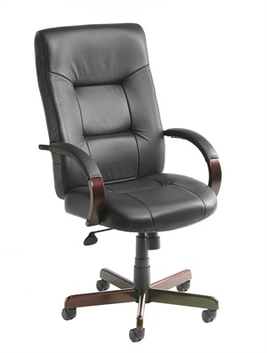 Boss High Back Leather Executive Chair With Mahogany Wood Finish - B8901