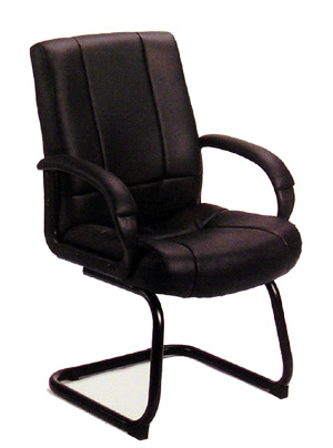 Boss High Back Leather Guest Chair With Padded Arm Rests - B7909