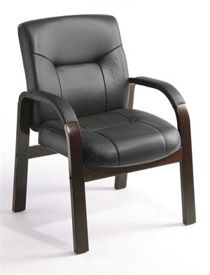 B8909 Boss-Leather Mahogany Guest Chair with Padded Arm Rests