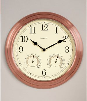 Chaney Clock 00919 Tritan Antique Copper Metal Wall Clock