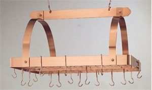 Old Dutch 30 x 20.5 x 15.3 Decor Copper Pot Rack with Grid and 24 Hooks - 101CP