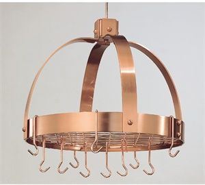 Old Dutch 18.5 x 21 Dome Decor Copper Pot Rack with Grid and 16 Hooks - 102CP