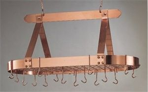 Old Dutch 36 x 19 x 15.5 Oval Decor Copper Pot Rack with Grid and 16 Hooks - 107CP