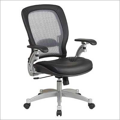 Office Star Air Grid Back Leather Chair with Platinum Finish Metal Base - 3680