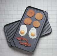 click for Full Info on this CHEFS DESIGN Reversible Double Burner Grill Griddle   3535