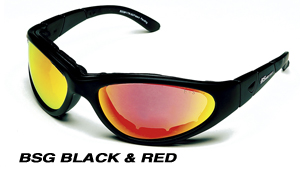 Body Specs BSG-BLK-CRIMSON RED.6 Black Frame Goggles-Sunglasses with Crimson Red Mirror Lens