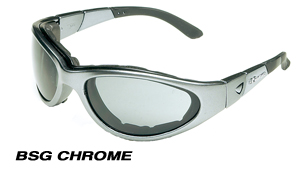 Body Specs BSG-2 SILVER CHROME.13 Silver Chrome Frame Goggles-Sunglasses with Smoke-Green Lens BDYS008