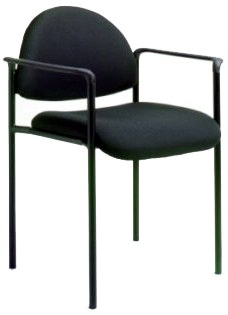 Boss Fabric Stackable Chair With Arms - B9501 - Black