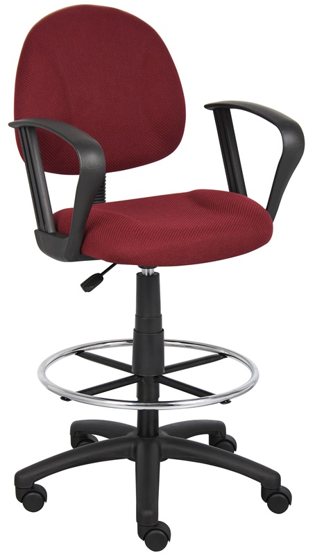 Boss B1617 Drafting Office Chair - Burgundy - LOOP ARMS