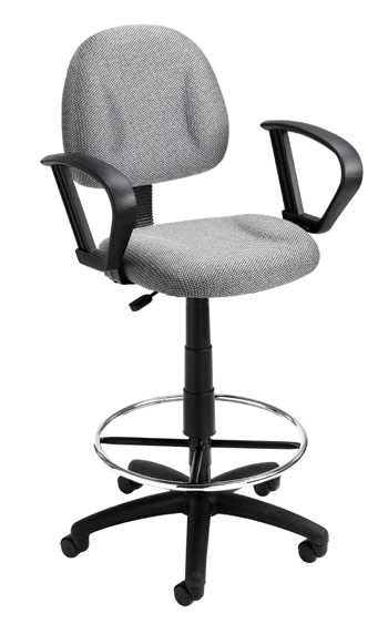 Boss B1617 Drafting Office Chair - Grey - LOOP ARMS