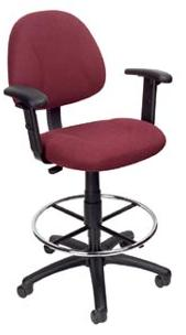 Boss B1616 Drafting Office Chair - Burgundy - Adjustable Height Arms